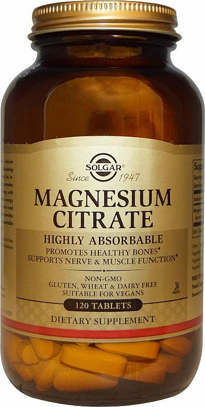 Solgar Magnesium Citrate 200mg,120 ταμπλέτες
